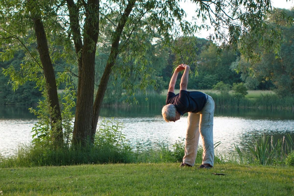 senior doing stretches