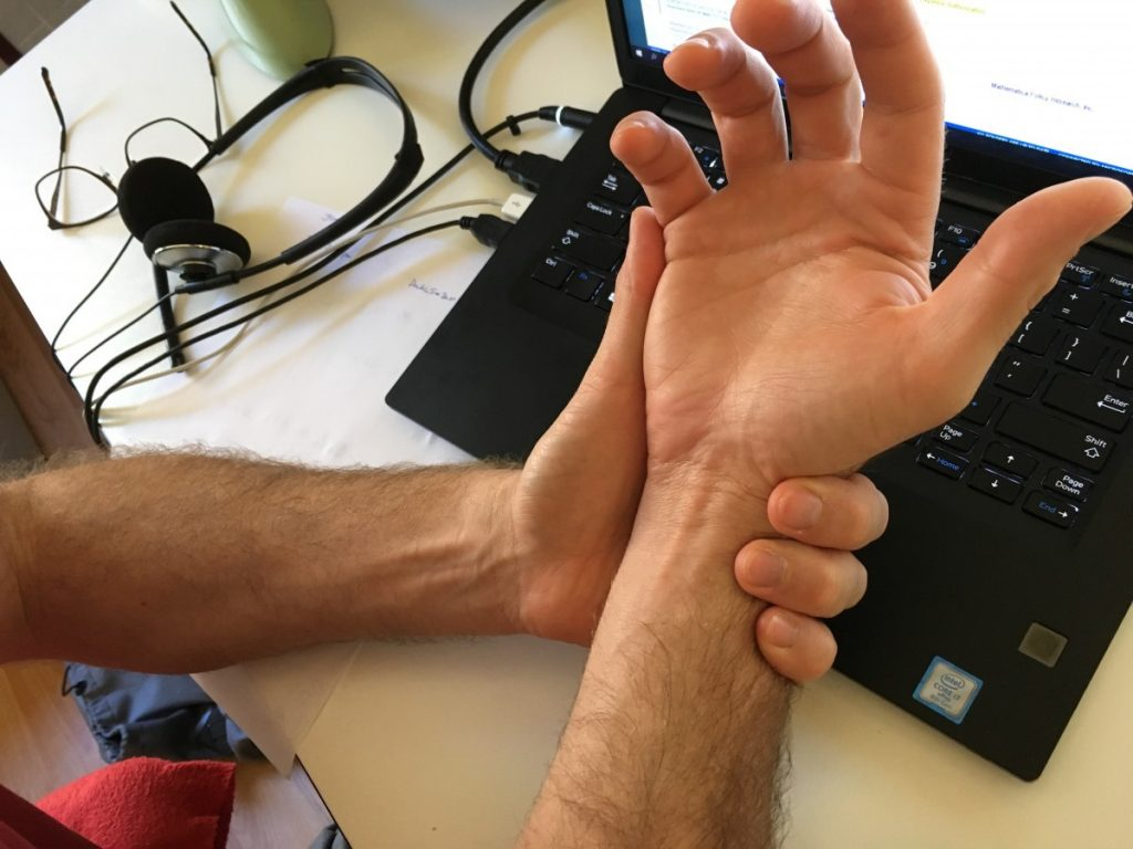 Carpal tunnel syndrome caused by poor typing ergonomics